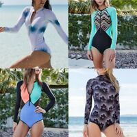 Women's Surfing Swimsuit  one-piece Swimwear Beach Zipper Long Sleeve Bikini