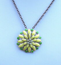 "Yellow Enamel and Bronze Tone Necklace and Pendant 17"" and 3.3/4"""