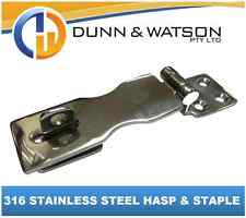 316 Stainless Steel Hasp & Staple (latch and Lock Marine Boat Caravan Trailer)