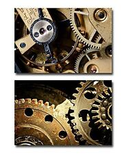 """Canvas -Mechanical Gears Close Up, Industrial Grunge Background- 16""""x24"""" x 2"""