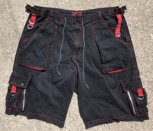 Tripp NYC Pants 2X Black Red Zipper Shorts Goth Punk Rave