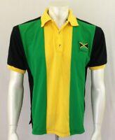 Jamaica Palm Club Yellow Green Cuffed Short Sleeve Men's Pique Polo Shirt Size M