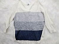 Old Navy Womens Sweater XS White Blue Stripe Thin Knit Long Sleeve Scoop Neck