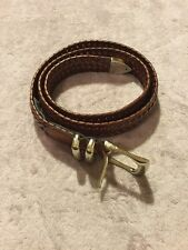 Perry Ellis Portfolio Mens Leather Braided Belt Size 32 - 80 In Brown