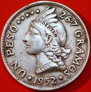 Domenician Republic Un Peso 1952 KM#22 Silver Dollar Crown Coin F+225