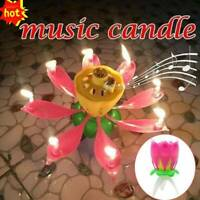 Candle Birthday Flower Musical Rotating Floral Candles Cake AU Party