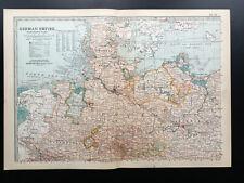 Antique Map Of Germany Northern Part German Empire Berlin Hamburg 1903