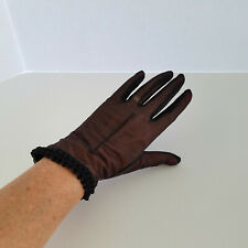 Vintage Kayser Black Sheer Nylon Wrist Gloves Size 6.5 Cute and Sexy Usa Made