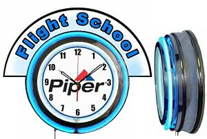 "Piper Aircraft w/ Flight School Blue Marquee 19"" Blue Neon Clock Mancave"