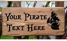PERSONALISED PIRATE SIGN SKULL BOAT CROSSBONES PLAQUE PLATE Caribbean Sparrow