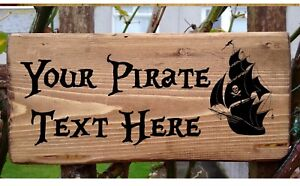 PERSONALISED PIRATE SIGN SKULL BOAT CROSSBONES PLAQUE PLATE Caribbean Sparrow.