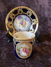 A. GOLSE LIMOGES :  Magnifique & Précieuse Tasse en Porcelaine / Bleu de Sevres
