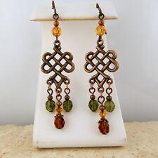 Boho Antiqued Copper Celtic Knot Chandelier earrings w/ glass & crystal beads