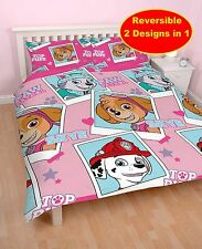 NEW PAW PATROL 'STARS' PINK DOUBLE DUVET QUILT COVER SET GIRLS KIDS BEDROOM SKYE