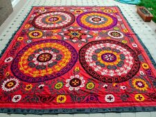 HUGE Wall Hanging Silk embroidery Uzbek Suzani bed cover Graceful floral motifs