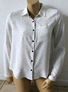 FOREVER 21 Womens Size XS Polka Dot Long Sleeve Button Front Cut Out Shirt