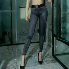 Women Zipper Open Crotch Sheer Leggings Silky Shiny Trousers Pants Clubwear