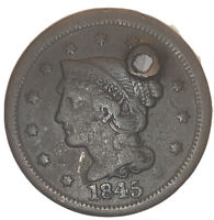 1845 Braided Hair Large Cent, Details, Copper Penny 1c US Type Coin • 4459