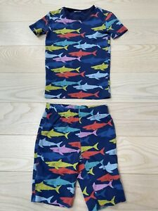 Mini Boden Toddler Little Boys Blue Shark Short Sleeve Pajamas Top Size 6 Years
