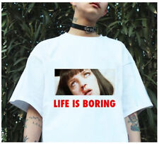 Spoof Harajuku Female T-shirt Summer Novelty Life is Boring Letters Print Women