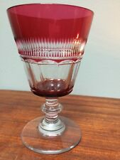 "Pairpoint Flutes & Mitre Pattern 5.5"" Goblet Ruby Cut to Clear"