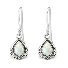 Sterling Silver White Drop Earrings - Gift Boxed - NEW