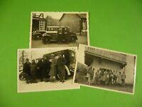 Lot 3 kleine alte Foto, Autos Personen Semmering 1931, Österreich Oldtimer Auto