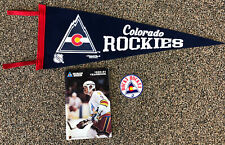 Vintage Colorado Rockies NHL Defunct Lot Felt Pennant, Decal & Yearbook 1980-81
