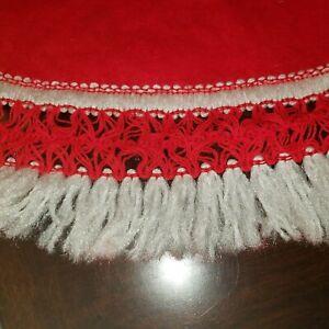 Vintage Felt Red White Fringe Christmas Tree Skirt 36: Diameter