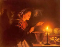 Oil painting Petrus Van Schendel - a market scene by candlelight free shipping