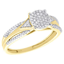 Shank Right Hand Cocktail Ring 1/6 Ct 10K Yellow Gold Cluster Diamond Tier Split
