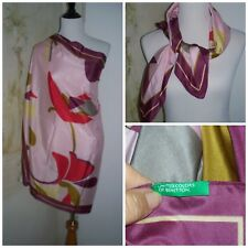 """Vintage United Colors Of Benetton Multi-Color Floral Oversized Large Scarf 35"""""""