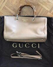 Gucci Bambú Beige Shopper Bolso Grande De Cuero Texturado-Usado