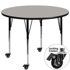 Mobile 42 Round Activity Table w/1.25 Thick High Pressure Grey Laminate Top New
