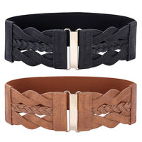 Fashion Women's Lady PU Leather Stretchy Elastic Waist Wide Strap Belt Waistband