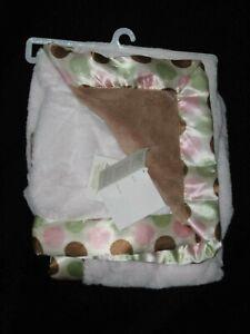 Blankets & Beyond Pink Brown Baby Blankie Satin Trim Green Polka Dots NWT