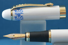 New Jinhao x450 Blue & White Porcelain Medium Fountain Pen with Gold Trim