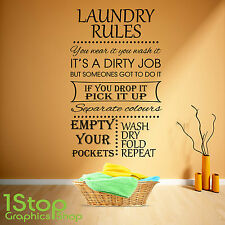 LAUNDRY RULES WALL STICKER QUOTE - KITCHEN HOME WALL ART DECAL X328