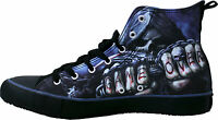 SPIRAL DIRECT Sneakers Men's High Top Lace up Canvas Shoes/Game Over/Death/Skull