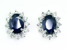 scintillant 2.5CT Diamant &sapphire Earrings in 14k Or