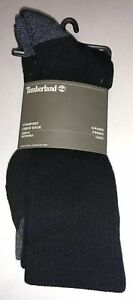 Timberland Comfort Crew Socks 4 Pair Men OSFM Black Grey Brown Reinforced Toe