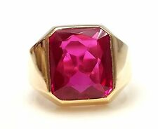 Men's Band in 14k Yellow Gold Simulated Ruby Mens Ring Band