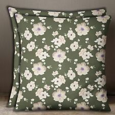 Decorative Cotton Poplin Olive Green Floral Print Pillow Sofa Cushion Cover