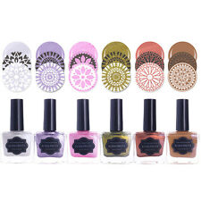 6 Bottles 15ml Pearl Stamping Polish Nail Art Stamp Varnish Manicure BORN PRETTY