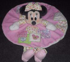 Doudou plat Rond Souris Minnie Patchwork Rose Vert Nœud Fleur Nicotoy Disney