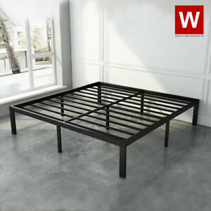 """Heavy Duty Steel Platform Bed Frame - Metal Bed Frame with Storage - Height 14"""""""