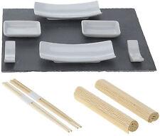 11 piezas Conjunto de sushi japonés Sushi Plato Placa de pizarra con csticks y esteras