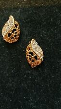CLEAR RHINESTONES EARRINGS IN GOLD COLOUR SETTING GRADUATION BIRTHDAY AND MORE