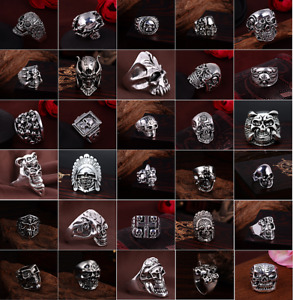 50pcs Lot Vintage Skull Skeleton Jewelry Rings Punk Mixed Style Rings For Man