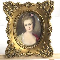 Vtg Miniature Framed Cameo Print Gold Ornate Beveled Glass Victorian Style